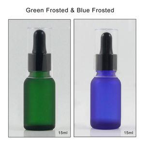 Blue Green Frosted 15ml Glass Dropper Bottle Refillable , Plastic Dropper Bottle Cover