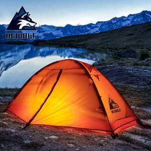 Camadas HEWOLF 1 Person Camping Tent Outdoor Duplo Silicone Revestimento impermeável Camping Tent 1,7 kg ultraleves com Tapete