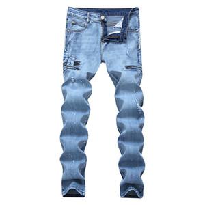 Los hombres pantalones vaqueros pantalones rasgados daños azul 100% de los pantalones vaqueros muchacho de los hombres pantalones de algodón individuo manera pies rectos ocasionales