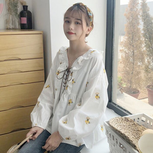 Women's Blouses & Shirts Chic Flower Embroidery Long Sleeve Cotton Linen Blouse Lace Up Loose White Mori Girl Japanese Chemisier