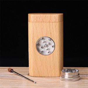 En bois naturel Pirogue avec un tube Cigarette Herb tabac Portable Boîte de rangement en bois Grinder Holder Accessoires pour Fumeurs
