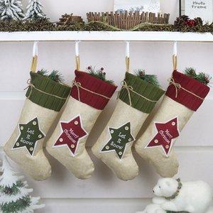 Christmas Socks Gift Bag Linen Five-pointed Star Socks Pendant Children Kids Gift Christmas Wedding Party Decoration