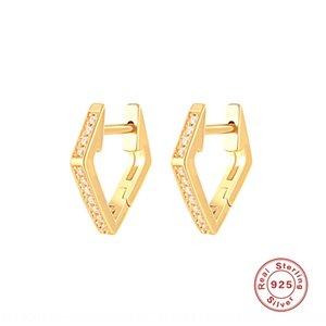 6i9nh SS925 de diamantes anillo de oído de plata de ley y venta caliente INS minimalistas pendientes de diamantes personalizados plata estudiante anillo de oído del oído