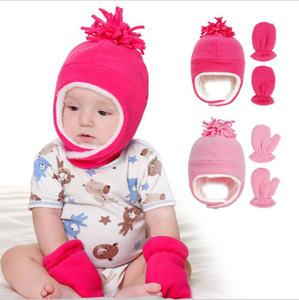 Bébé d'hiver Chapeau chaud Cache-oreilles avec des gants Chapka Outdoor Tout-petits Polaire Chapeau d'hiver Eagflag Calotte New Garçon Fille Bonnet HHD1399