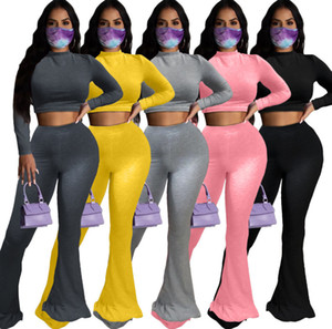 Women Tracksuit Two Pieces Set Solid Color High Waist Long Sleeve Tops Big Flared Pants Outfits Fashion Ladies Casual Wear Plus Size New