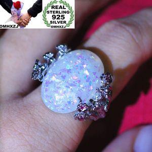 Кластерные кольца OMHXZJ оптом европейская мода женщина человек вечеринка свадебный подарок серебряный белый овальный опал 925 стерлинговое кольцо RR81