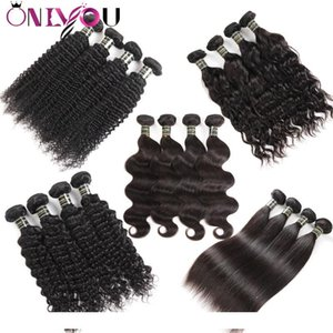A Brazilian Virgin Hair Body Wave Straight Deep Water Wave Kinkly Curly Human Hair Extensions 10a Grade Weft Weave 3 4 Bundles Natural