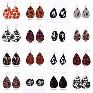 Leather Drop Earrings Halloween Pumpkin Ghost Print Earrings Simple Teardrop Earring Vintage Leaf Earring Women Fashion Jewelry YFA2556