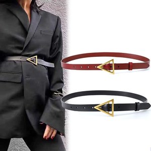 Women Belt Thin Leather Metal triangle pin Buckle Black Brown Female Waist Belts Fashion Brand Ladies Trouser Dress Waistband