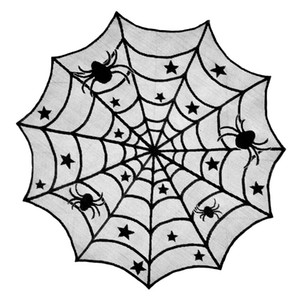 40 Inch Black Spider Holiday Party Table Tabela Halloween Lace Topper pano de Halloween Decoração Suprimentos JK2009XB