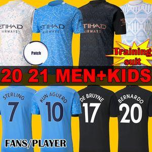 FANS PLAYER 2020 2021 STERLING DE BRUYNE KUN AGUERO 20 21 manchester soccer jersey city training suit football shirt men kids uniforms