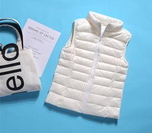 Plus Size 3XL Autumn Winter Women Sleeveless Waistcoat Jacket Ultra Light White Duck Down Vest Coat Ladies Short Outwears11