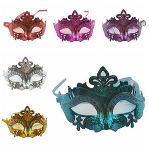 Maschera Sexy Party con glitter oro Maschera Uomini Donne veneziana Sparkle Masquerade Maschera veneziana maschere Mardi Gras Costume mezza faccia DBC DHF840