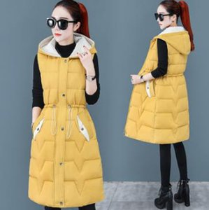 Wholesale women's hooded hit color mid-length sleeveless all-match outer wear cotton vest jacket with hood