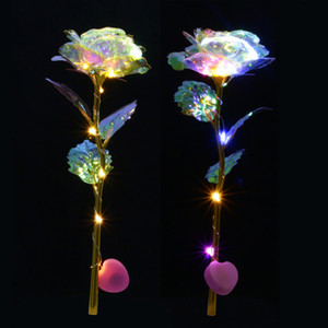 Romantic Colorful LED Fairy Rose Artificial Galaxy Rose Flowers for Girl Friend Valentine's Day Gift Wedding Party Home Decor C0924