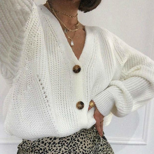 White Cardigan Women Winter 2020 Long Batwing Sleeve Oversized Knitted Sweater Hollow Out Knitwear Korean Style