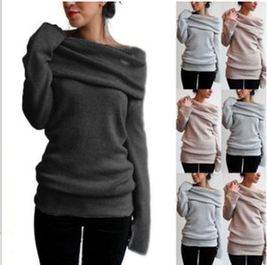 Women Knitted Sweater Female Sexy Off Shoulder Long Sleeve Slim Sweaters 2020 Autumn Winter Casual Pullover Tops Jumper