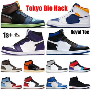 New Basketball Shoes Jumpman 1 1s OG High Tokyo Bio Hack Iridescent Reflective White Royal chicago Toe Obsidian UNC basketball Sneakers