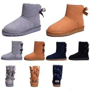Hot Women boots for girls Short Mini Classic Knee Tall Winter Snow Boots Bailey Bow Ankle Bowtie Black Grey chestnut size 5-10