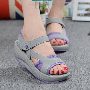 LaSiTing Yaz Kadın Sandalet Kama Chunky Yüksek Topuklar Ayakkabı Platformu Rahat Işık Kadınlar Plajı Ayakkabı 2020 gladyatör