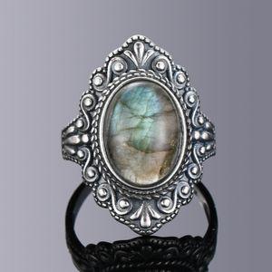 Nasiya Vintage Oval Natural Anéis Labradorite For Women 925 Sterling Silver Ring Jewelry Ring Finger Gemstone Rings presente partido
