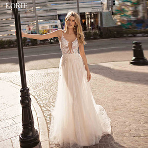 LORIE Boho Wedding Dresses Appliqued with Lace V Neck Beach Wedding Gowns Spaghetti Strap Backless Free Shipping Bridal Gowns