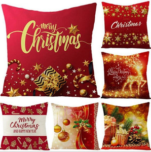 DHL Ship Fashion Christmas Pillow Case 40 Styles Sofa Cushion Pillow Cover Santa Claus Printed Washable Reusable Linen Pillowcase 45*45cm