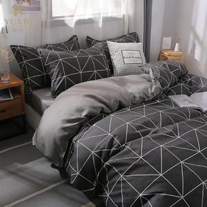Yuxiu clássico Bedding Sets Cinzento Duvet Cover Plano lençol Linens edredões de linho Rei Rainha duplo standard Tamanho
