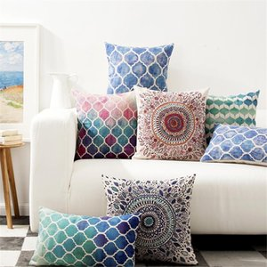 Geometric Cushion Cover Linen Colorful Throw Pillow Case Retro Vintage Decorative Pillows Covers Sofa Car Seat Cases