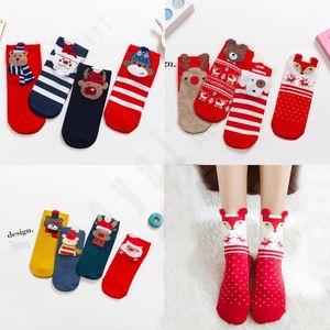 Noël Femme Socks Cartoon Père Noël Elk Motif animal Socks vacances chaud Cartoon Mode Chaussettes de Noël