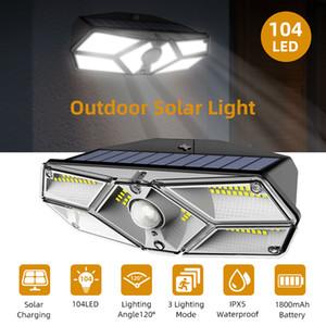 104 LEDs Solar Motion Sensor Floodlight Outdoor Solar Lights Six-sided Waterproof LED Solar Lamp Garden Yard Security Wall Light