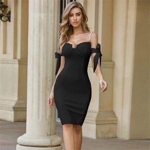 ADYCE 2020 New Summer Off Shoulder Bandage Dress Sexy Spaghetti Strap Short Sleeve Bodycon Club Celebrity Evening Party Dresses0924