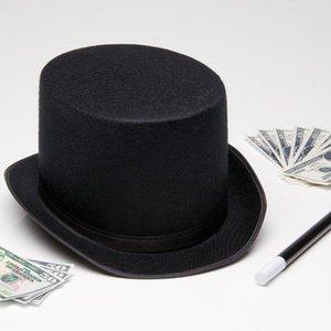 13CM 16CM Height Punk Black Hatter Top Hat Halloween Props Felt Hats Millinery  Magician Magic Trick Cap@88