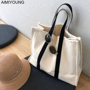 AIMIYOUNG Frauen-Segeltuch-Handtaschen Große Schultertasche Damen Taschen Modedesigner Handtaschen Bolsa Feminina Bolsos Mujer T200915