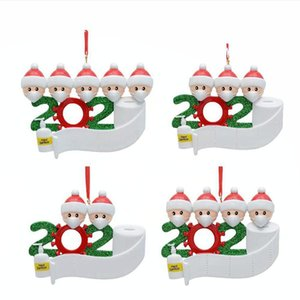Cheapest 2020 Quarantine Christmas Ornament Decoration DIY Name Santa Claus With Mask Personalized Family Decors Social Distancing DDA530