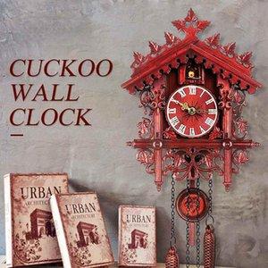 Cuckoo Clock Salon Duvar Saati Kuş Cuckoo Günü Saat Alarm Asma Duvar Işçiliğinin Sanat Vintage Ev Dekorasyon Monteli