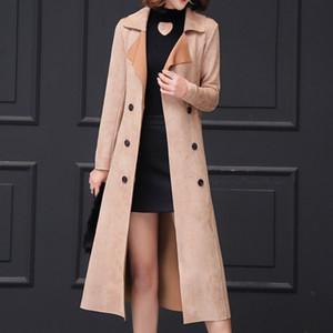 European Double Breasted Deerskin Long Womens Windbreaker Fashion Slim Winter Women Outerwear New Design Belted Trench Coat 3XL