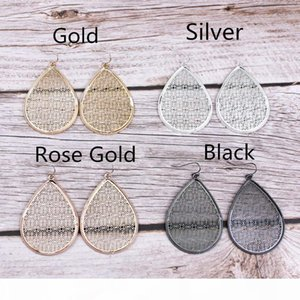 Fashion New Gold Cut Out Silver Filigree Teardrop Dangle Earrings for Women 2020 Unique Chunky Water Drop Jewelry Accessories