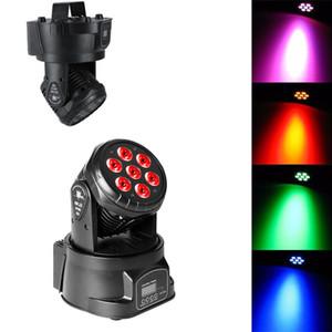 etapa proyector 80W 7-RGBW LED Control automático de voz / DMX512 Mini principal móvil de la lámpara de la etapa (110-240 AC) Negro