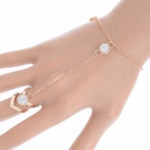 PINKSEE Moda Glitter Rhinestone Mão Pulseira Slave Chain Link Ring Finger ouro New Jóias Chegada encanto para Mulheres