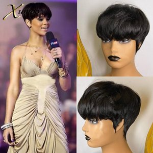 XUMOO Short Pixie Wig Human Remy Brazilian Hair Wigs Black Pixie Cut Wig Full Machine Made Wigs Short Human Hair For Women