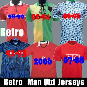Retro 90 92 Estados Casa longe de Futebol Manchester Scholes 06 07 08 94 96 97 98 99 86 88 Giggs Beckham RONALDO CANTONA camisas de futebol