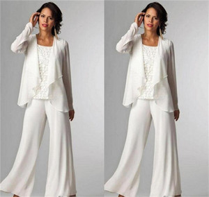 3 Pieces Lace White Chiffon Mother Pantsuits Women Mother Of The Bride Dress Custom Made Formal Party Gowns Mother's Suits Pants
