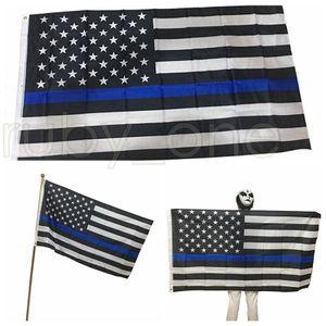 90 * 150cm Flags BlueLine EUA Polícia 3x5 Bandeira Pé fina de Blue Line EUA Black White And Blue Flag RRA3546 americano