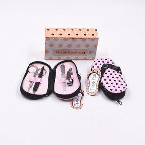 100pcs Wedding Gift Favor Polka Flip Flop 4 Pieces Pedicure Set nail file +scissors + clippers+cuticle set NO296