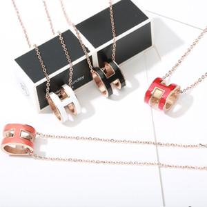 Superior de acero inoxidable colgantes de moda H collares pendientes de oro rosa de las mujeres pendientes Collares H carta de los colgantes con la caja original