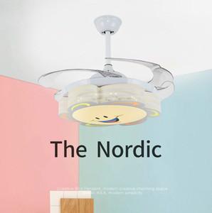 Sorrindo teto de LED Nova dos desenhos animados do Norte Fun Crianças Fan luzes do quarto de estudo ventiladores de teto com luzes