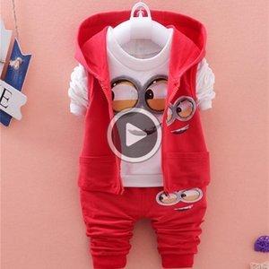 Automne Bébé Filles Garçons Minion Costumes Enfant / Vêtements enfants nouveau-nés Ensembles Gilet + T-shirt + Pantalons 3 Costumes enfants Sets Pcs