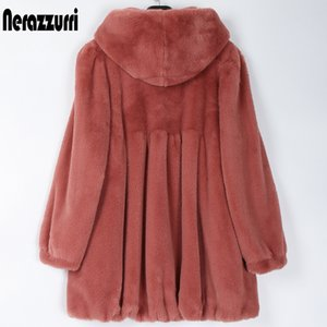 Nerazzurri plisadas luz suave mujeres abrigo de piel sintética con capucha con falda chaquetas suaves para las mujeres de las mujeres más el tamaño de la moda otoño 2020 T200908