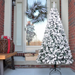 Stock In US 6 7 7.5 Feet Pencil Flocking Tied Light Artificial Christmas Tree With Metal Foldable Stand Home Decor Iron Leg White 250Ul Lamp